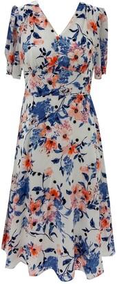 Sandra Darren Short Sleeve Bubble Crepe Floral Midi Dress