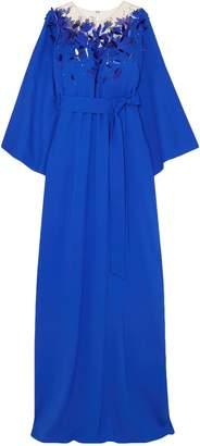 Oscar de la Renta Embellished Tulle And Silk-blend Crepe Gown