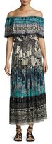 Fuzzi Ruffled Off-the-Shoulder Patchwork Maxi Dress, Black Pattern