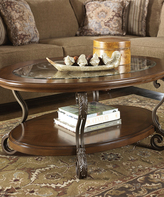 Signature Design by Ashley Medium Brown Nestor Oval Cocktail Table