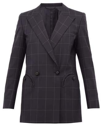 BLAZÉ MILANO Chacco Kid Windowpane Checked Wool Blazer - Womens - Navy Multi