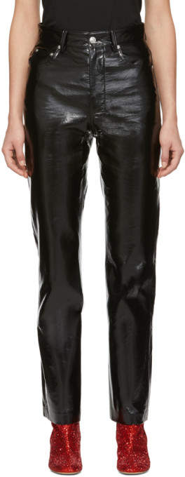 MSGM Black Vinyl Trousers