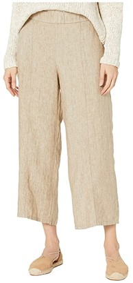 Eileen Fisher Washed Organic Linen Delave Pull-On Wide Cropped Pants (Khaki) Women's Casual Pants