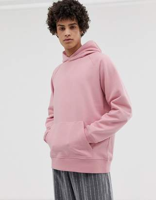 Asos oversized hoodie in heavyweight pink jersey