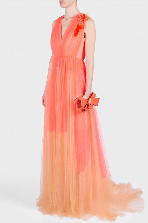 DELPOZO V-Neck Gown