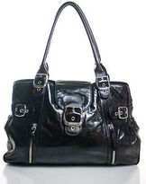 DKNY Black Leather Silver Tone Buckle Accented Tote Shoulder Handbag