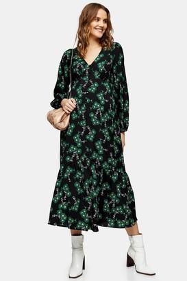 Topshop Womens **Maternity Green Button Through Midi Dress - Green
