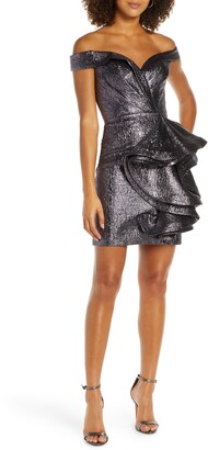 Mac Duggal Off the Shoulder Ruffle Front Metallic Party Dress