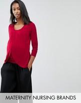 Mama Licious Mama.licious Mamalicious Nursing Long Sleeve Wrap Jersey Top