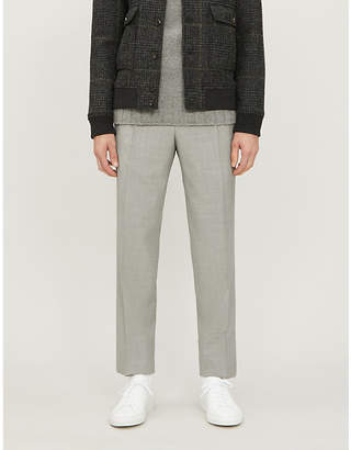 Canali Checked regular-fit straight wool, silk and linen-blend trousers