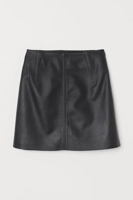 H&M Short Leather Skirt - Black