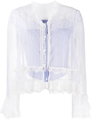 Ermanno Scervino Lace-Embellished Ruffled Blouse