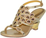Vibur Seven Women's Rhinestones Peacock Tail Sheepskin Wedge Sandals