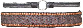 LeJu London Handwoven Bracelet Set In Grey And Copper Colors