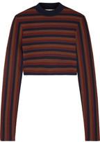 Victoria Beckham Cropped Striped Stretch Wool-Blend Sweater