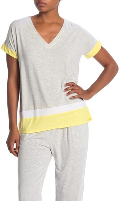 Donna Karan Colorblock Short Sleeve Sleep Shirt