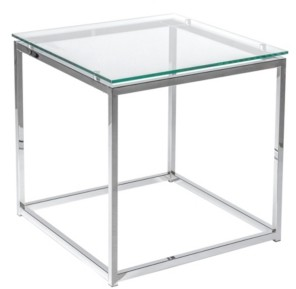 Euro Style Sandor Square Side Table with Tempered Glass Top and Chrome Frame