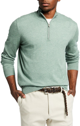 Brunello Cucinelli Men's 2-Ply Cashmere Quarter-Zip Sweater