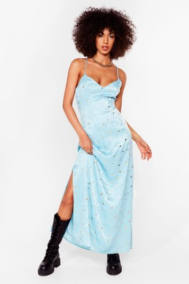 Nasty Gal Womens Star Crossed Lovers Satin Maxi Dress - Green - 4