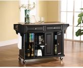 Crosley 52 in. Stainless Steel Top Kitchen Island Cart in Black