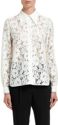No.21 No. 21 Lace Pointed-Collar Shirt
