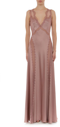 Alberta Ferretti Satin Sleeveless V Neck Gown With Lace Trim