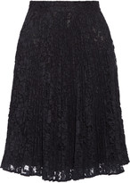 Valentino Pleated cotton-blend guipure lace skirt