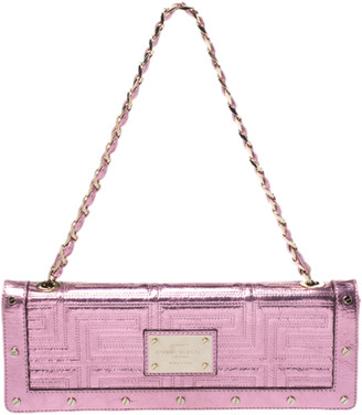 Gianni Versace Versace Pink Quilted Patent Leather Flap Chain Bag