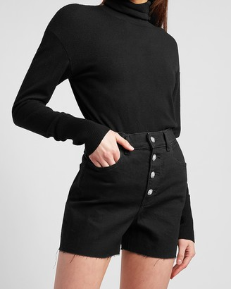 Express Super High Waisted Black Crystal Embellished Button Fly Shorts
