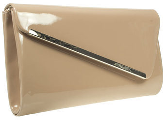 Barratts Womens Ladies Nude Patent Clutch Bag With Metal Trim