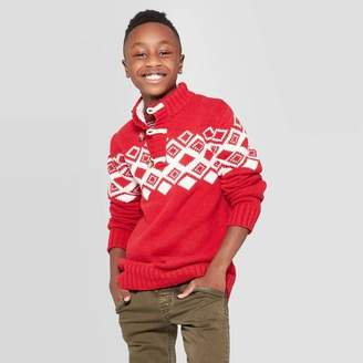 Cat & Jack Boys' Long Sleeve Pullover Sweater Red