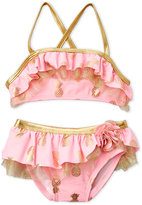 Flapdoodles Toddler Girls) Two-Piece Metallic Pineapple Ruffle Bikini