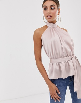 Asos Design DESIGN halter top with tie detail in satin