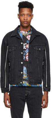 John Lawrence Sullivan Black Bleached Zip Denim Jacket