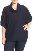 Sejour Button Cowl Neck Short Sleeve Sweater (Plus Size)