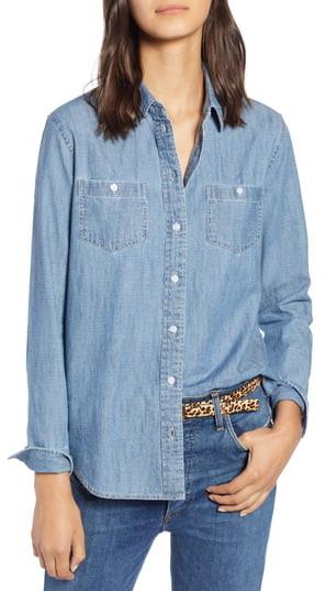 6e1f947e172 Petite Chambray Shirt - ShopStyle