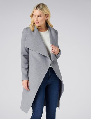 Forever New Megan Felled Seam Wrap Coat - Grey - 16