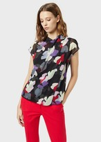 Emporio Armani Chiffon Blouse With Draping And Floral Motif