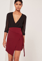 Missguided Crepe Tie Front Wrap Mini Skirt Red