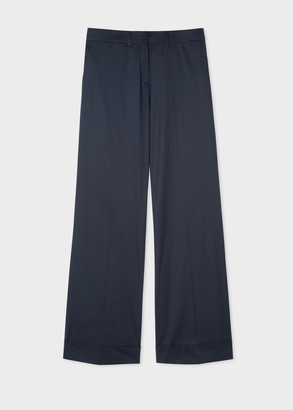 Paul Smith Women's Dark Navy Wide-Leg Cotton-Blend Trousers