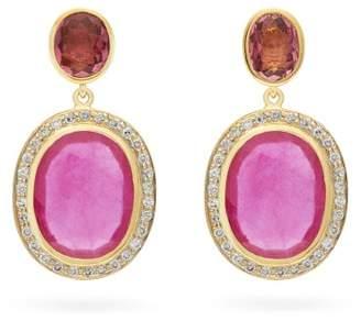 Jade Jagger Diamond, Ruby, Tourmaline & 18kt Gold Earrings - Womens - Pink