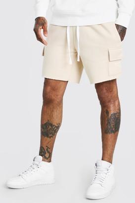 boohoo Mens Beige MAN Print Mid Length Shorts With Raw Hem, Beige