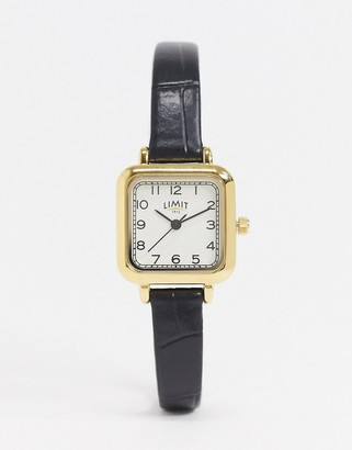 Limit square dial faux leather watch In black