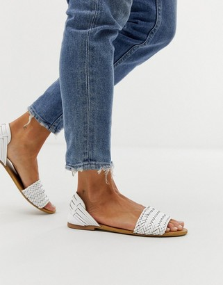 Park Lane leather interlaced summer sandals-White