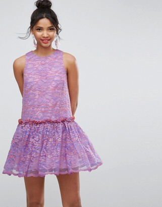 Asos Design Lace Smock Drop Waist Mini Dress-Purple