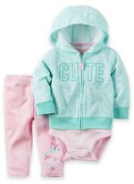 Carter's 3-Piece Cute Butterfly Hoodie, Bodysuit, and Pant Set in Blue