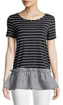 Design Lab Lord & Taylor Striped and Gingham Tee
