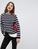 MANGO Stripe Knit High Neck Sweater
