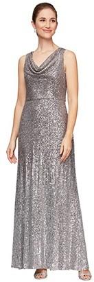 Alex Evenings Long Sleeveless Ombre Sequin Dress (Silver/Multi) Women's Dress