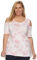 Croft & Barrow Plus Size Printed Cold-Shoulder Top